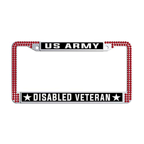 Nuoousol U.S. Army Disabled Veteran Red Shining Crystal License Frame car, Stainless Steel Crystal Car License Plate Holder with 2 Holes Screws Caps Set ()
