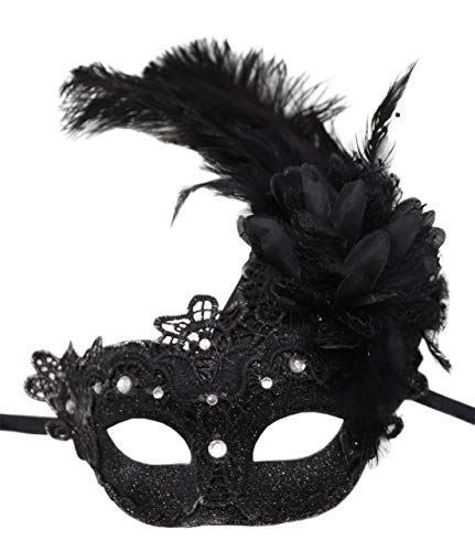 Women's Feather Masquerade Mask Venetian Halloween Mardi Gras Costumes Party Ball Prom Mask (Black (Barcode lace with Rhinestone))]()