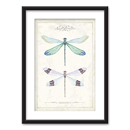 wall26 - Framed Wall Art - Watercolor Style Dragonflies - Black Picture Frames White Matting - 23x31 inches