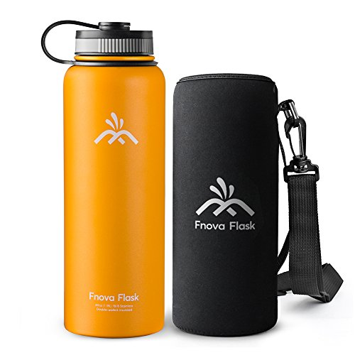 40 oz Stainless Steel Water Bottle, Fnova Flask Insulated Double Walled Vacuum Thermos, Wide Mouth bouns Protective Pouch/Carry Cover, BPA-Free, Cold 24 Hrs / Hot 12 Hrs (Orange, 40oz)