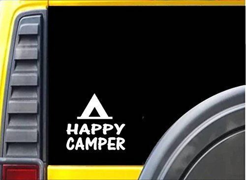 Happy Camper Decal Vinyl Sticker|Cars Trucks Vans Walls Laptop| WHITE |5.5 x 5.25 in|CCI607