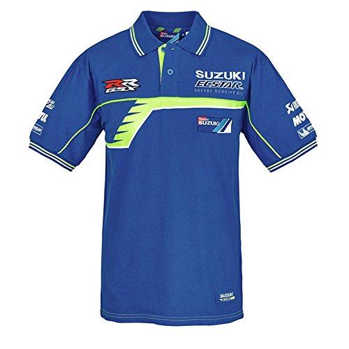156345cfe82a SUZUKI MotoGP Team Polo Shirt kurzarm Suzuki Ecstar Racing blau weiß neon