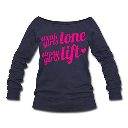 Strong Girls Lift Women's Wideneck Sweatshirt by Spreadshirt, XXL, melange navy