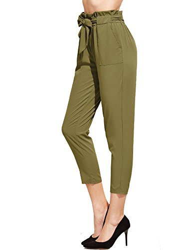 SweatyRocks Women's Elastic Belted High Waist Casual Loose Long Pants with Pocket (Large, Green)
