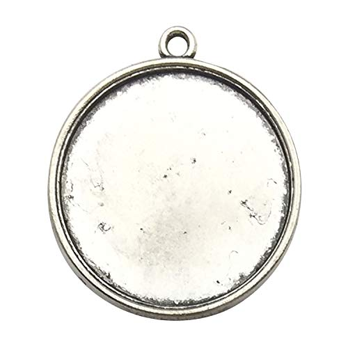 30pcs 25mm Round Pendant Trays, Single Sided, Antique Silver Tone, Fit 25mm Cabochon, Blank Base Setting Bezel Frame Cameo (C8285) ()