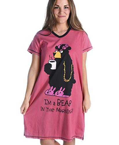 Bear in The Morning Women's Animal Pajama Nightshirt by LazyOne | Cute Animal Nightgowns for Ladies (L/XL)
