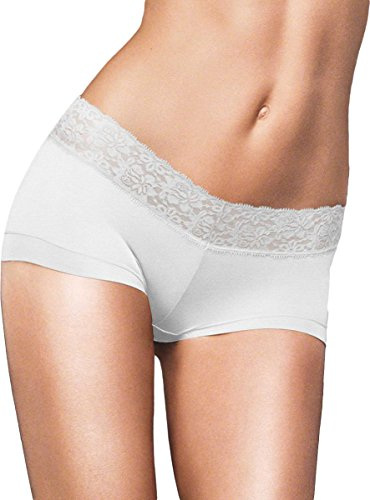 White Cotton Spandex Boyshorts (Maidenform Womens Cotton Dream Boyshort With Lace(40859)-White-7)