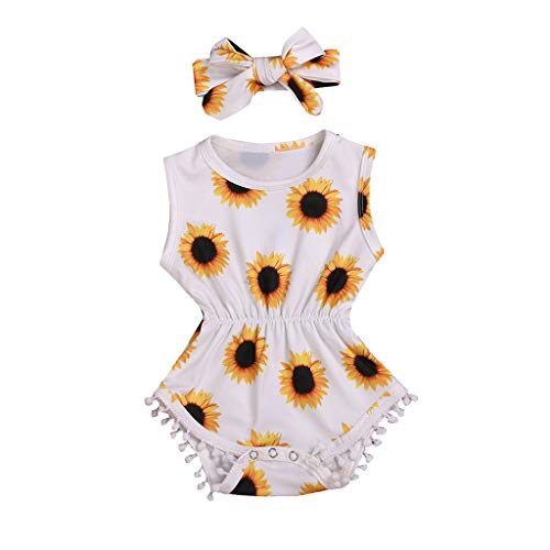 Toraway 2PCS Set Infant Kids Baby Girls Sleeveless Feather Romper Jumpsuit+Headband Outfits Set (0-6 Month, Sunflower #1)