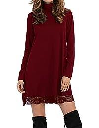 Women Knitting Turtleneck Long Sleeve Loose Lace Cotton Casual Dress