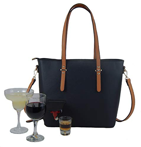 (Loving Liquid Line - Fashionable Wine Purse, hidden spout, insulated compartment & wine bota insert, fun party or gift idea. Unique Ladies Bag, holds a bottle+ of wine or other beverage. Women's tote.)