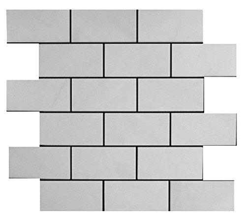 Bianco Dolomiti Marble Italian White Dolomite 2x4 Mosaic Tile Polished for Bathroom and Kitchen Walls Kitchen Backsplashes ()