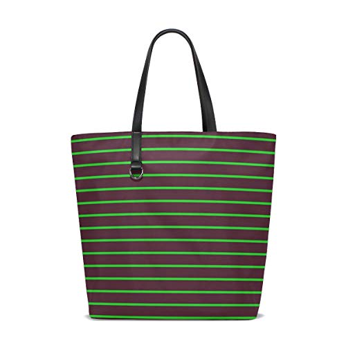 JTMOVING Women Image Stripes Green Lines Handle Satchel Handbags Shoulder Bag Tote Purse Messenger Bags