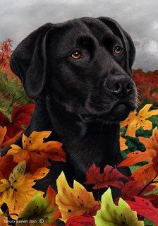 Black Labrador Retriever Dog Tamara Burnett Fall Leaves Garden Dog Breed Flag 28'' x 40''