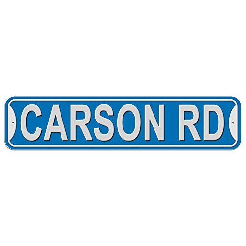 Carson Rd Road Sign - Plastic Wall Door Street Road Male Name - Blue