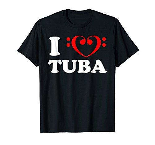 Tuba Clef - I Love (Bass Clef Heart) Tuba Shirt