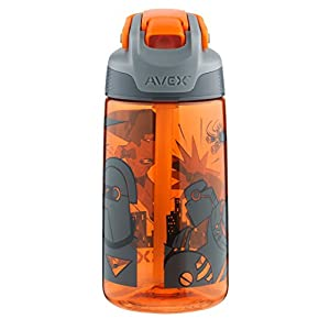 AVEX Freestyle Kids Autospout Water Bottle, 16oz, Orange with Superhero