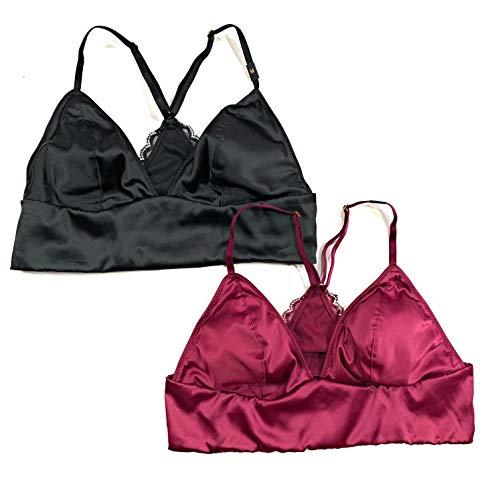 Victoria's Secret Set of Two Satin Padded Wireless Bralettes Medium Black Burgundy