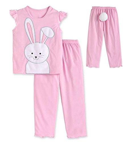 Sara's Prints Bunny Girls 2 Piece Pajama Set with Tail Pink, Toddlers Size (Saras Prints Girls 2 Piece)