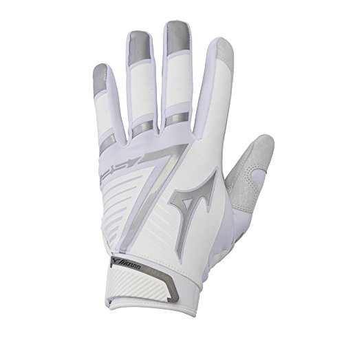 Mizuno F-257 Women's Softball Batting Glove, White-Silver, Medium