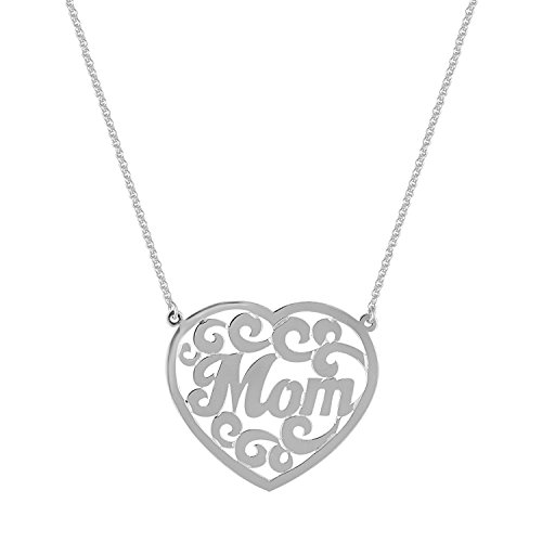 EZ Creations Mom Mother Gift Heart Monogram Lace Necklace Jewelry Gold On Sterling Silver 1.25