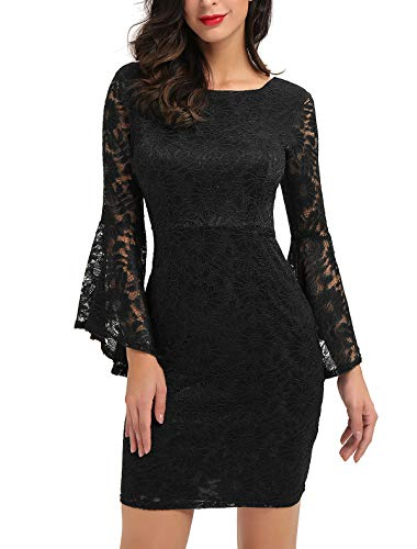 Noctflos Black Bell Sleeve Lace Cocktail Short Dress for Women Party Wedding Guest