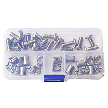 M6X50mm Furniture Barrel Screws Zinc Plated Metric Hex Drive Socket Cap Bolt Nuts Assortment Kit for Furniture Parts Cots Beds Crib and Chairs Bookcase Hardware 40pcs