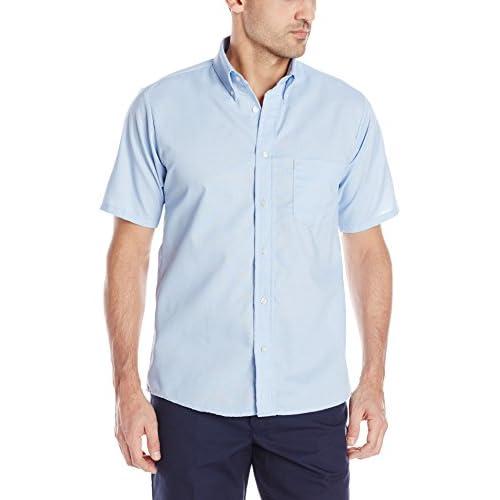 Red Kap Men's Easy CareDreShort Sleeve Shirt, Light Blue, Short Sleeve Large