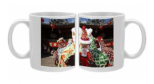 Photo Mug of Lion dance performers, Chinese New Year, Quan Am Pagoda, Ho Chi Minh City