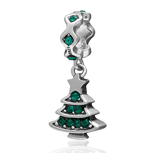 Crystal Christmas Tree Austrian (Ollia Jewelry 925 Sterling Silver Dangle Charm with Austrian Crystal Beautiful Christmas Tree Holiday Gift European Beads and Charms (green))
