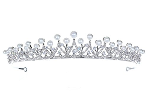 Princess Cubic Zirconia Crystal Platinum Plated Pearl Bridal Tiara Crown T1265