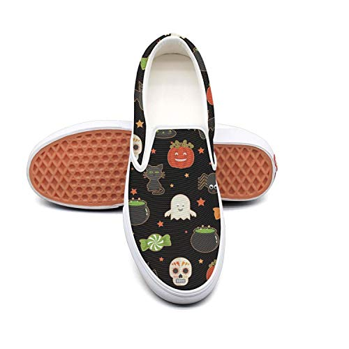 Halloween candy skull cat pumpkin black Classic Men Canvas Slip-Ons Loafer Shoes Sneaker ()