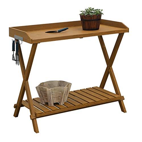 (StarSun Depot Outdoor Folding Garden Table Potting Bench with Slatted Bottom)
