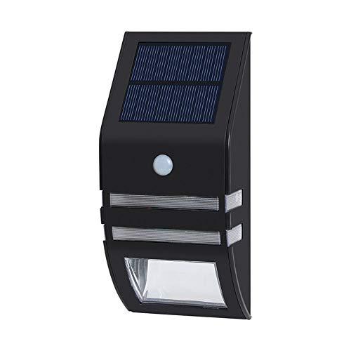 Led Solar Outdoor Waterproof Stainless Steel Body Sensor Home Garden Wall Lamp,Black