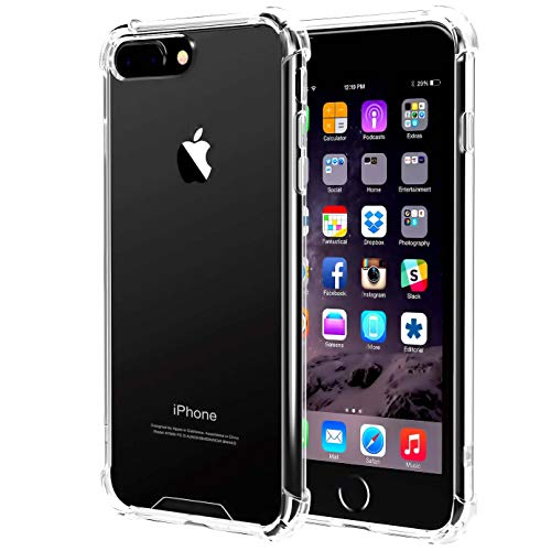 CaseHQ Clear Hard Back Compatible with iPhone 7 Plus 5.5 inch Soft TPU Bumper Drop Protection Anti-Scratch Transparent Cover Slim Fit Silicone Rubber Reinforced Corners Bumper Frame - Crystal