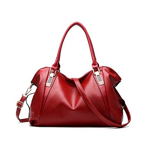 Tisdaini Borsa da donna Messenger bag a tracolla Messenger Messenger in morbida pelle vino rosso