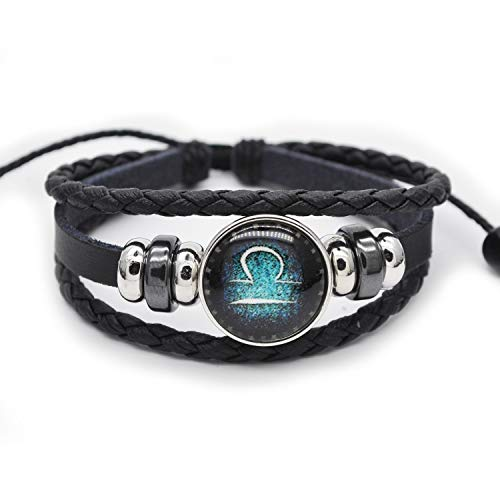 FRD.2Y Genuine Leather Bracelet for Women & Men,Unisex Multilayer Leather Adjustable Bracelet Cuff Wrap Multicolor Rope Wristband (Libra)