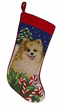Pomeranian Christmas Stocking 100% Wool Hand-Stiched Needlpoint: Precious