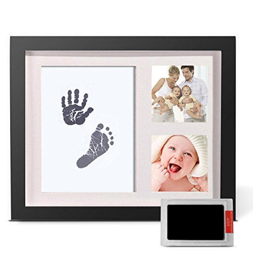 Baby Handprint and Footprint Photo Frame Kit by TopSuccess Without Ink-Touch,Safe and Non-Toxic Ink Print Kit for Baby Babyprints Inkpad Best for Newborn Baby Gifts GM10 (Black) by TopSuccess (Image #1)