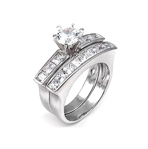 1.25 Carat Round Brilliant Cubic Zirconia Silver Wedding Ring - 7