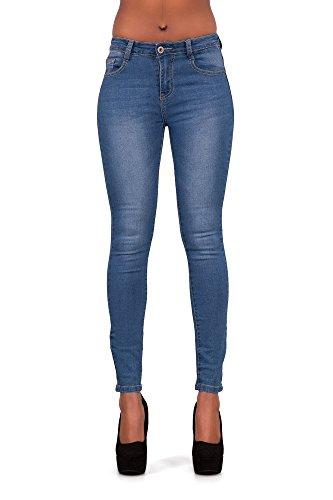 Damen Hellblau Niedrig Sitzende Sexy Jeans Größen 6 8 10 12 14