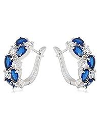 Richy-Glory - Blue Sapphire & Crystal Zircon Hoop Earrings