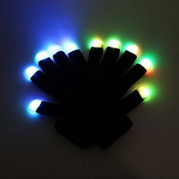 RexRod High Quality 7 colors light show LED Gloves Rave Light Finger Lighting Flashing Glow Mittens & Amazon.com: RexRod High Quality 7 colors light show LED Gloves Rave ...