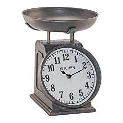 Red Co. Old Fashioned Decorative Scale Design Table Clock in Antique Black - Vintage Inspired Kitchen Countertop Decor