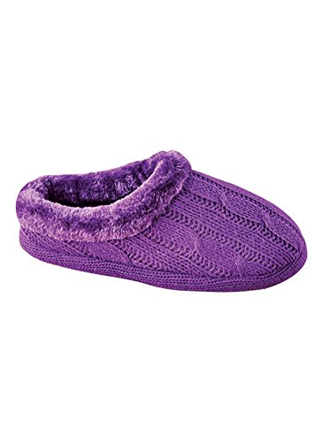 Carol Wright Cadeaux Fourrure Doublée Câble Tricot Pantoufle Violet