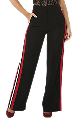 BucaDala Womens Relaxed Fit Striped Side Wide Leg Bootcut Pants Straight Trousers - Bootcut Striped Jeans