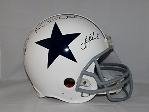 (Smith Irvin Aikman Signed Dallas Cowboys F/S TB White ProLine Helmet- JSA Auth)