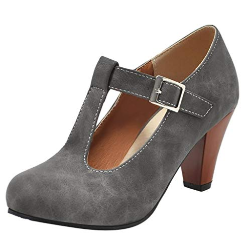 JUSTWIN Fashion Ladies One-Strap Buckle Thick Single Shoes Women Buckle Ankle Boots ()