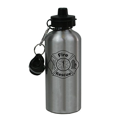 Personalized Custom Fire Rescue, Emt, Ems Aluminum Silver Finish 20 Ounce Water Bottle Customizable