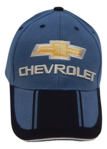 Hot Rods Plus Officially Licenced Chevrolet Chevy Embroidered Bowtie Logo Two-Tone Stripe Hat Cap Adult Adjustable Baseball Hat Cap (Chevy Blue)