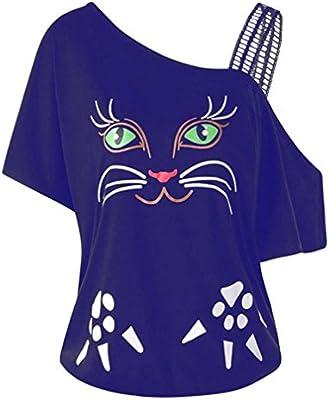 LILICAT Camiseta de Gran tamaño para Mujer Cat Print, L ~ 5XL, 2018 Mujeres de Moda Sexy Fuera del Hombro Ropa de Encaje Desigual Camisas de Manga Corta ...